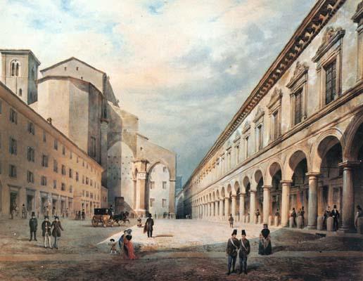 Biblioteca comunale dell 39 archiginnasio bologna for 1 piani di fattoria storia con avvolgente portico